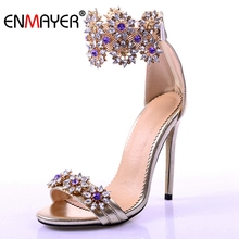 ENMAYER Luxury Rhinestone Women Sandals Sexy Knee High Gladiator Flats Street Style Outfit Shoes Woman CR174