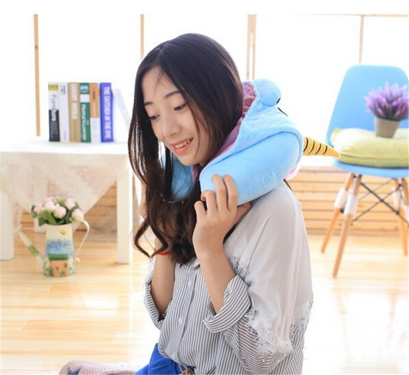 unicorn hooded neck pillow
