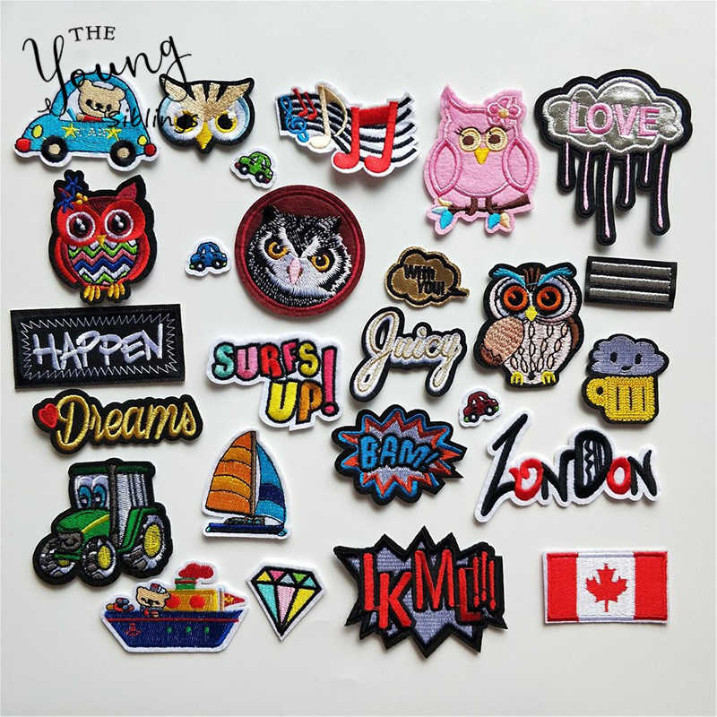 Mixture Hot Melt Adhesive Iron On Patches Cartoon Owl Cat Letter National Flag Badge DIY Motif Applique Sticker for Clothes