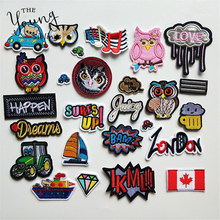 Mixture Hot Melt Adhesive Iron On Patches Cartoon Owl Cat Letter National Flag Badge DIY Motif Applique Sticker for Clothes(China)