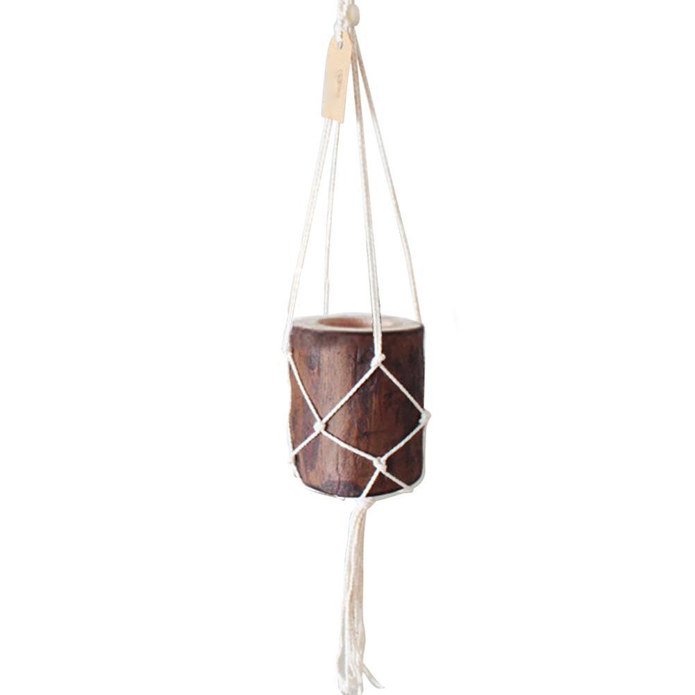 1 Set Tuin Bloempot + Hanger Netto Boho Kwastje Opknoping Muur Houder Stump Bloempot Set Thuis Koffie Winkel Decoratie Geschikt Voor Mannen, Vrouwen En Kinderen