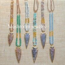 цена на Bohemian Jaspers Arrow head Pendant Necklace Faux Suede Stone Necklace,Long Necklace Arrow Boho Necklace