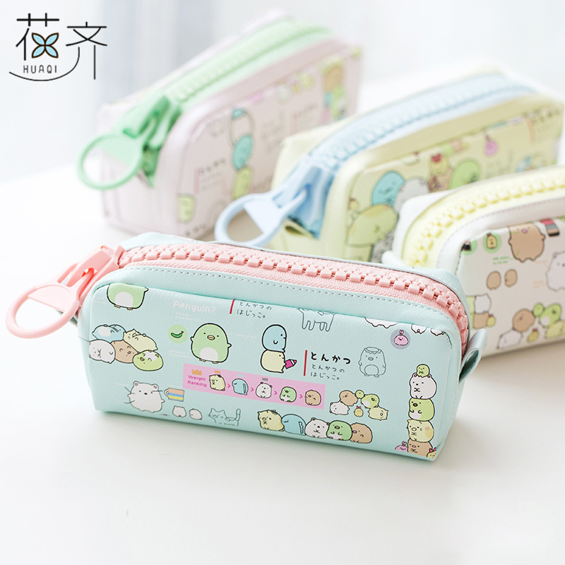 huaqi Cartoon Sumikko Gurashi Big Zipper PU Large Pencil Case Stationery Kawaii Storage Organizer Bag School Office Supply kawaii kitty melody twin star sumikko gurashi gudetama canvas big capacity pencil pen bag