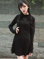 Spring Autumn Harajuku Gothic Punk Women Dress Lolita Lace Up Love Heart Embroidery Long Sleeve Black