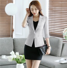 Spring Summer Half Sleeve Professional Business Work Suits With Jackets And Dress Office Ladies Work Wear Blazers Outfits