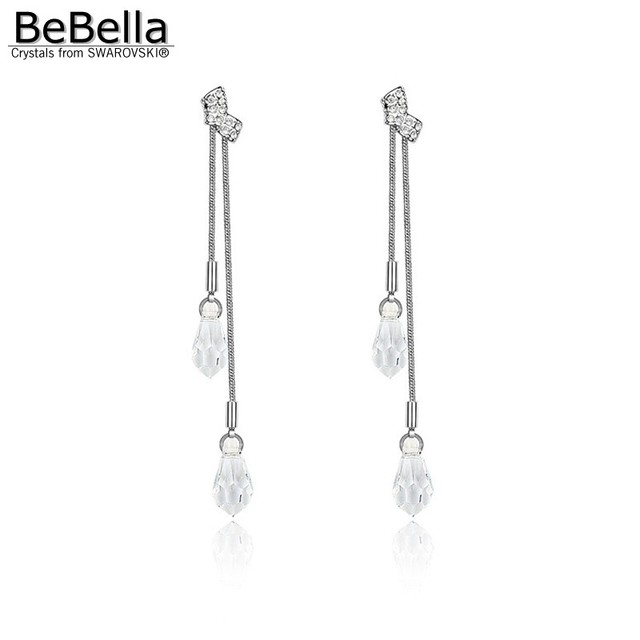 Bebella Clear Crystal Drop Pierced Earrings Made With Crystals From Swarovski For Women Wedding Jewelry