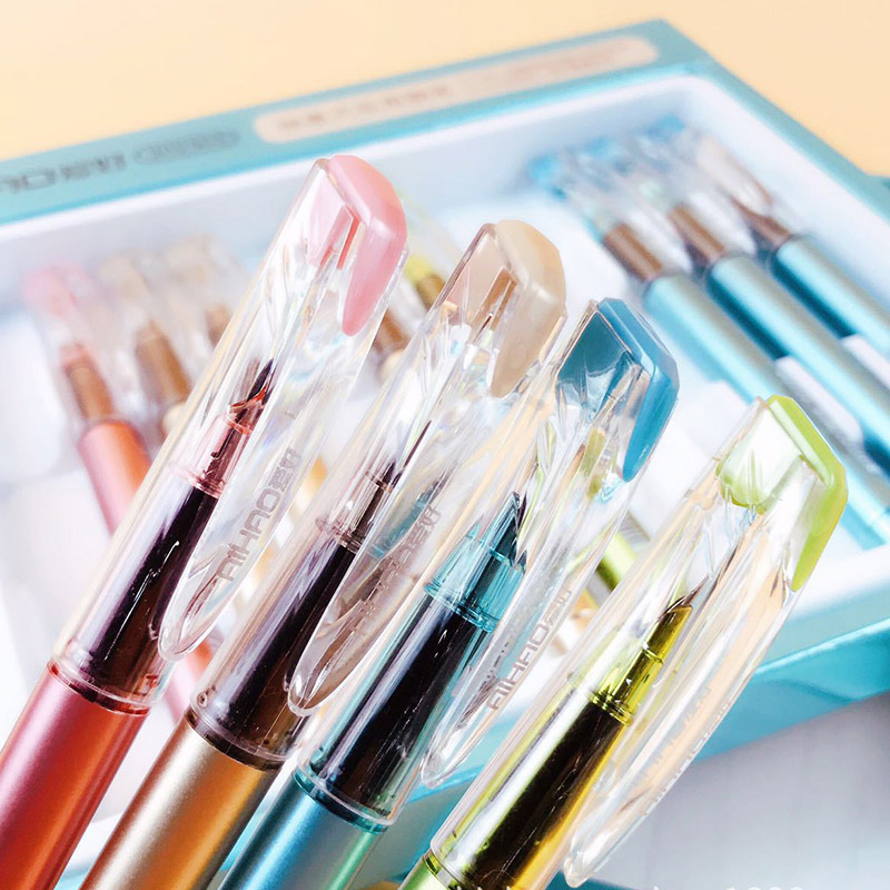 0 5mm Higt Quality Plastic Fountain Pen Multifunction Suck Ink Ink Sac Pens For Writing Stationery Gift Office School Supply in Fountain Pens from Office School Supplies