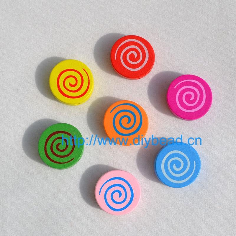 20 шт DIY Ювелирная фурнитура Детский отдел рукоделия браслет аксессуары смешанные формы деревянные бусины с мультяшным принтом животные разные цвета - Цвет: lollipop