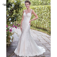 weiyin White Vintage Lace Mermaid Wedding Dress Vestido de Novia Sequin Lace Sheer Bridal Gowns Robe mariee Sexy Wedding Dresses