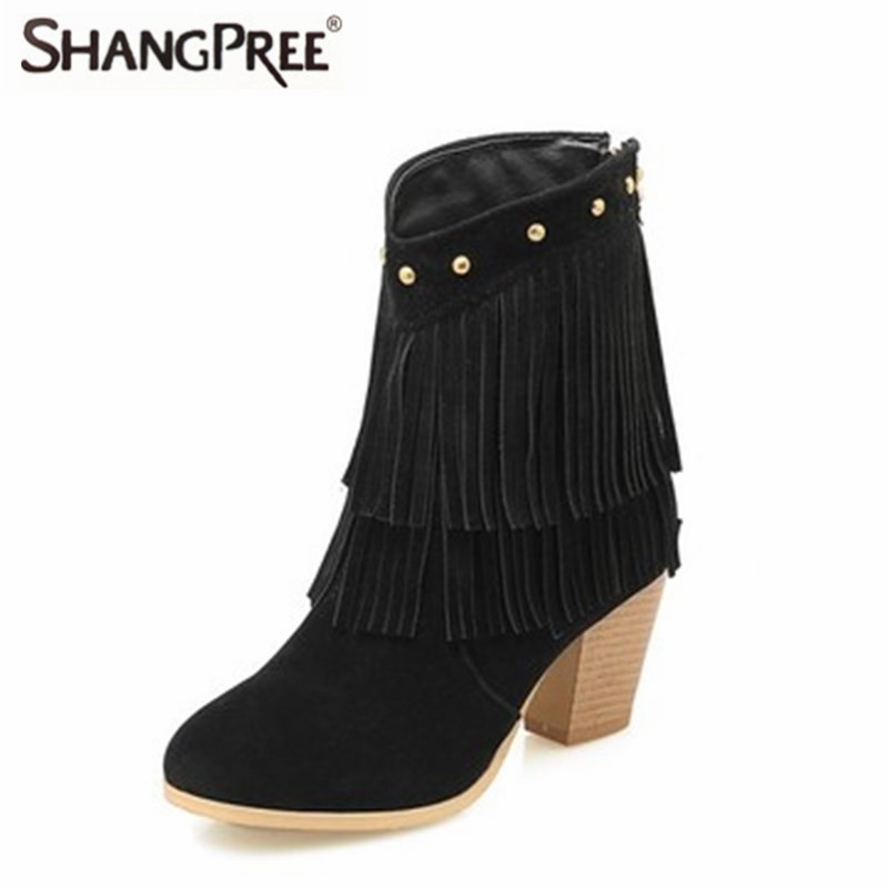 New Suede Leather Fashion Ankle Boots Ladies Autumn Winter Thick Heels Shoes Women Sweet Tassel Round Toe Boots Winter shoes 2017 autumn new suede short boots thick bottom round toe solid color ankle boots women fashion casual shoes