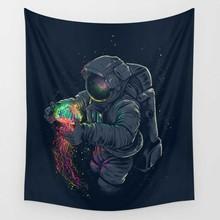 CAMMITEVER אסטרונאוט אריות צבי מופשט שטיח קיר המנדלה Hippie בוהמי שטיחי בית תפאורה Dropship