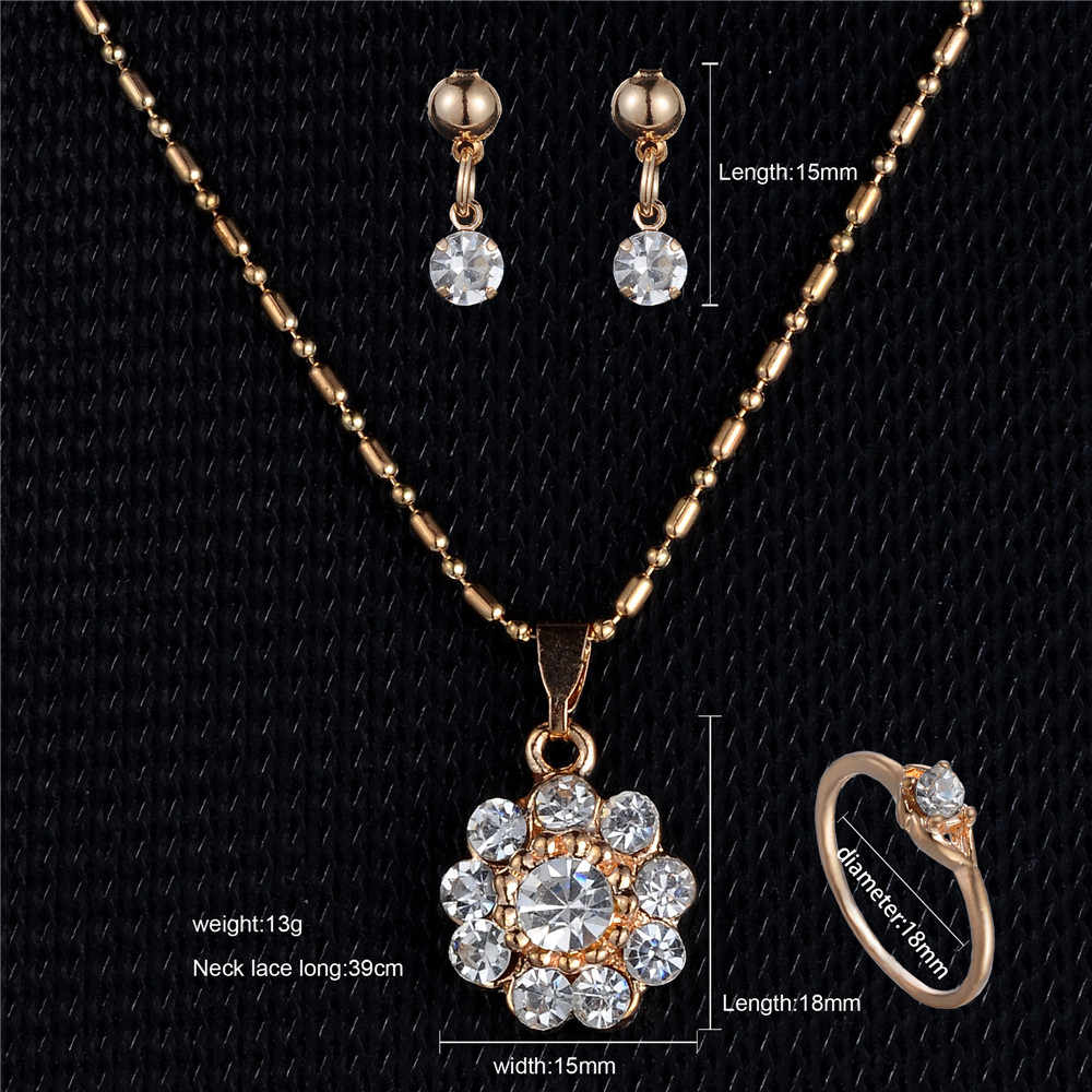 Sun flower Pendant Necklace Rhinestone Gold Jewelry Set Earring Ring Set For Women Wedding Party Girl Gift Engagement Jewelry