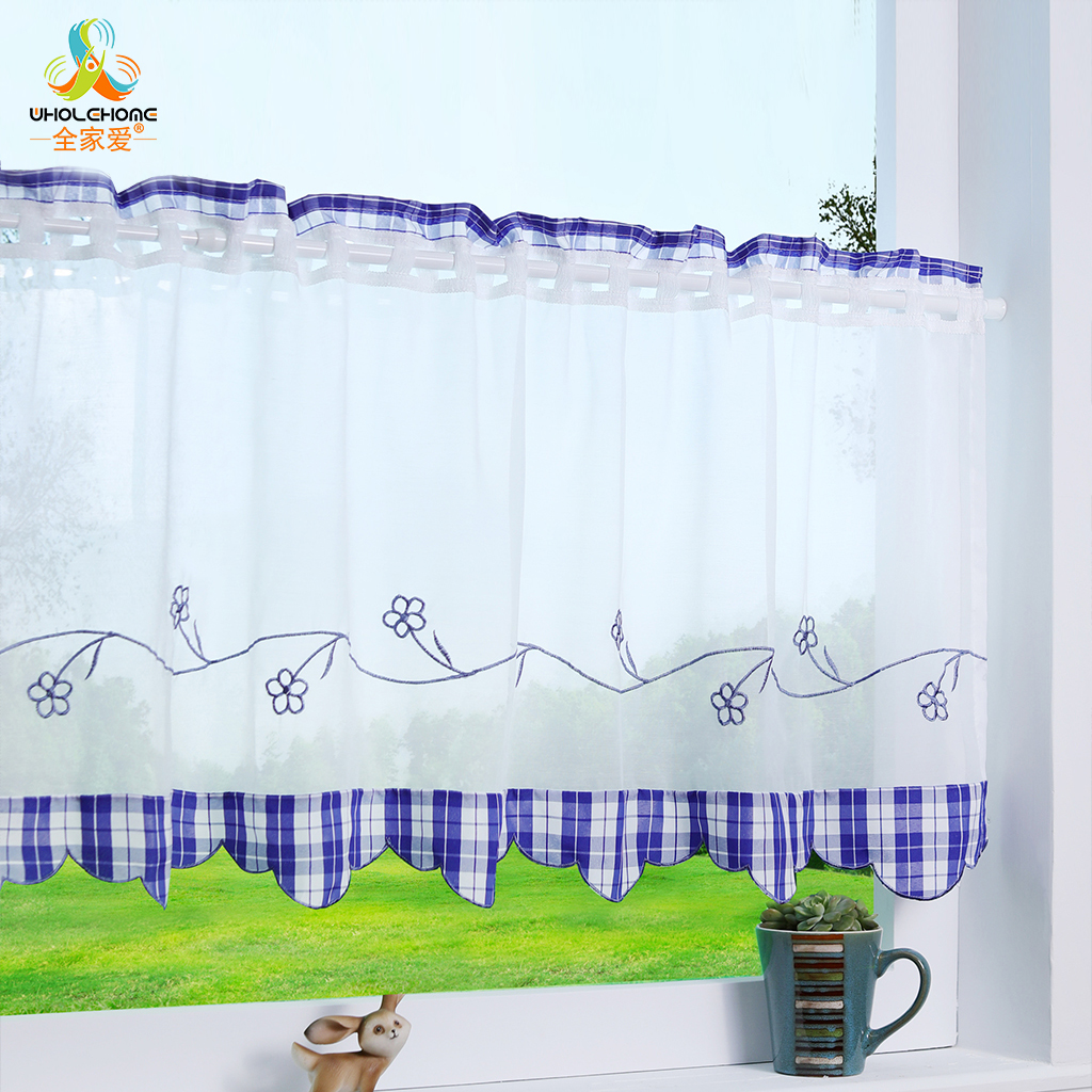 1pcs Pastoral Plaid Short Kitchen Curtain Floral Embroidery Window Sheers For Living Room Kids Study Room Curtain Decoration