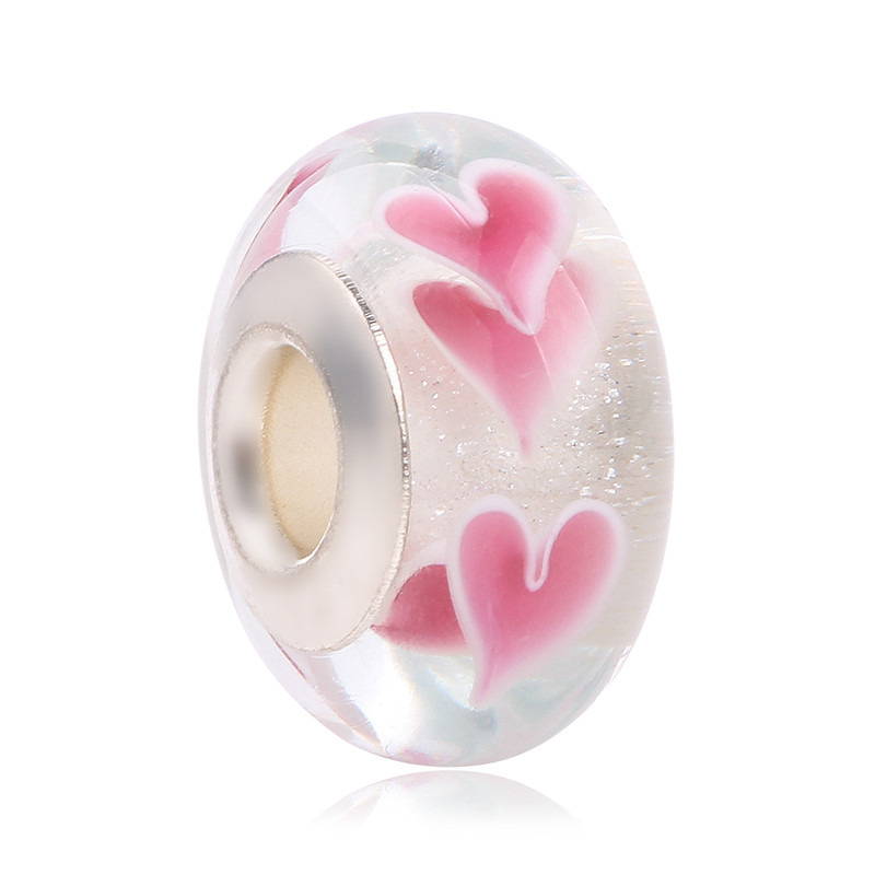 New Fashion 925 Sterling Silver Cerise Heart Murano Glass Beads Fit Original Pandora Cha ...
