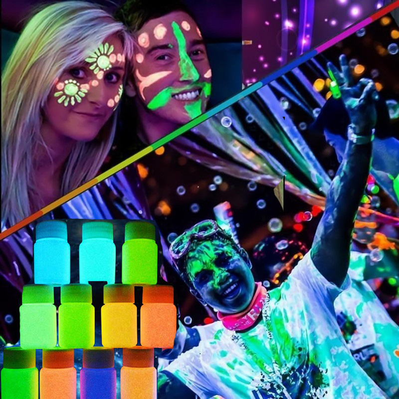 Nuevo 20 ml UV Glow Neon Face Body Paint Fluorescente Brillante Fluo Irradiate luminiscente Fiesta Festival Decoración Fiesta Maquillaje H7JP1