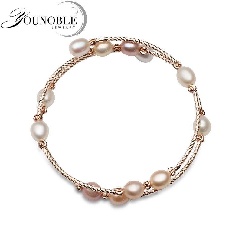 Süß GehäRtet Mode Natürliche Süßwasser Doppel Perle Armband Für Frauen, Einstellbare Armband Mädchen Geburtstag Geschenk Gutes Renommee Auf Der Ganzen Welt