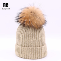 Rancyword High Quality Winter Warm Hats For Women Knitting Cashmere Hat Real Fur Beanies Fur