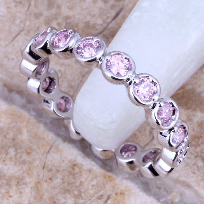 Attractive Pink Cubic Zirconia Silver Women's Ring Size 5 / 6 7 8 9 D349A - jewelry1688 store