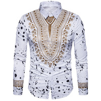 Autumn and winter new fashion shirt personality ethnic floral flower shirt Print men's wild long sleeved shirt