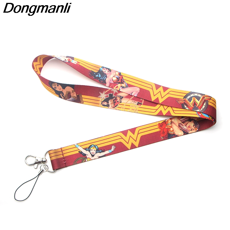 P3378 Wholesale 24pcs lot Wonder Woman Keychain Lanyards Id Badge Holder ID Card Pass Gym Mobile