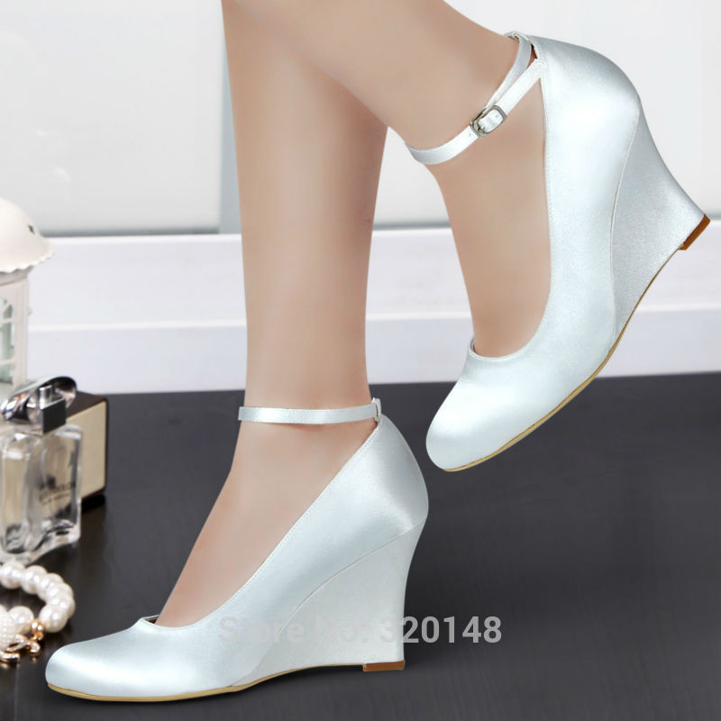 534c2b3042b Woman wedges white ivory high heel ankle strap pumps round toe satin bride  bridesmaid wedding bridal evening dress shoes A610