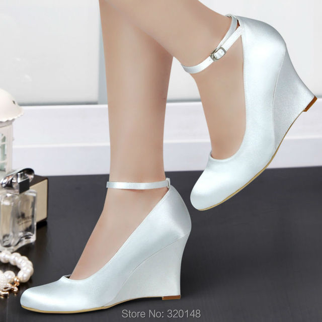 Woman wedges white ivory high heel ankle strap pumps round toe satin bride bridesmaid wedding bridal evening dress shoes A610