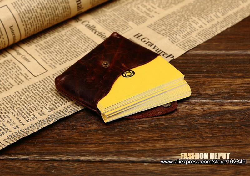 Oil Waxed Dark Brown Credit Card Wallet Card Bag Coin Wallet man and women (6)