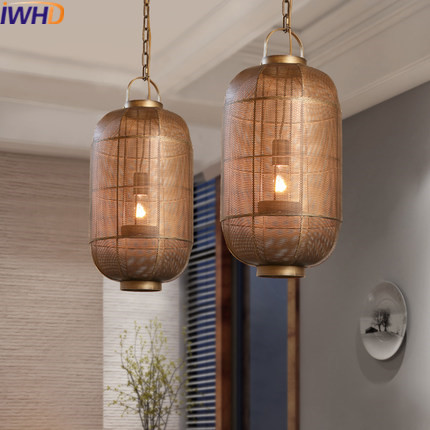IWHD Retro Vintage Pendant Lamp Light Living Room Dining Room Industrial Pendant Lamp Cage Hanglamp Home Lighting Fixrures iwhd resin vintage lamp living room led pendant light fixtures loft style industrial retro hanglamp for dining room lamparas