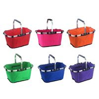 1Pc Waterproof Nylon Shopping Basket Sturdy Large Capacity Camping Picnic Carrying Bag Movable Handle Anti Slip Rubber Pad