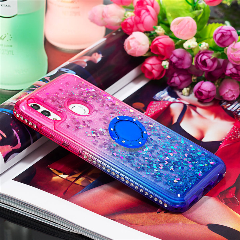 Bling Diamond Liquid Quicksand Cases for Huawei Mate 20 pro Mate 20 lite Ring Holder Gradient Back Coque for Huawei honor10 lite - 4