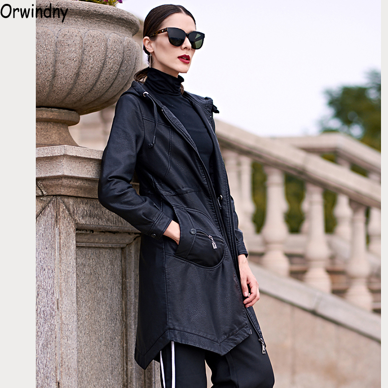 Orwindny 2019 Women Long   Leather   Trench Spring Autumn Hooded   Leather   Clothing Outerwear Casual Slim   Leather   Coat Feminina Casaco