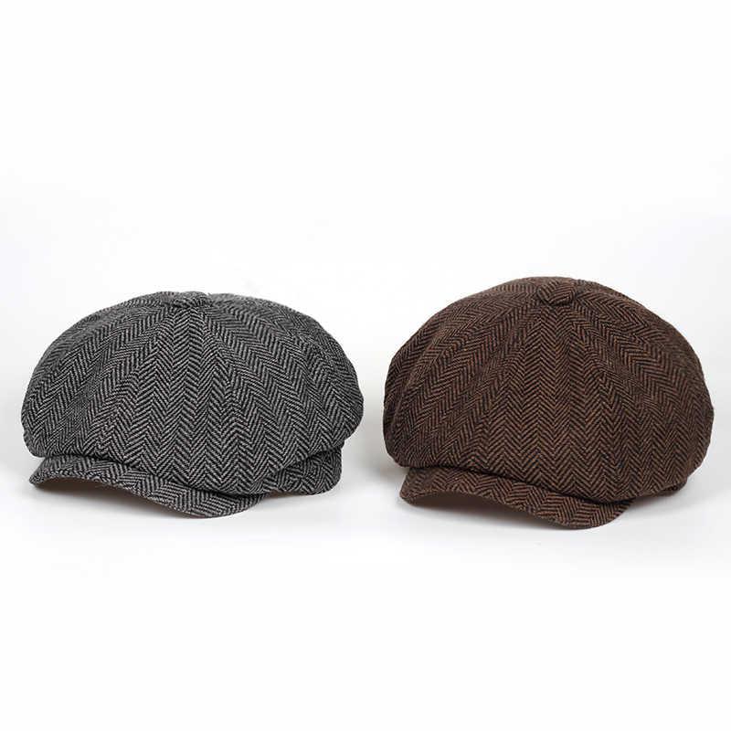 0112b595a17 ... Fashion Herringbone Tweed Gatsby Newsboy Cap Men Wool Ivy Hat Golf  Driving Flat Cabbie Flat Unisex