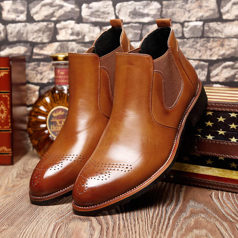 Mens fashion party nachtclub jurken chelsea laarzen zacht leer enkellaars carving bullock schoenen point teen brogue schoen sapatos