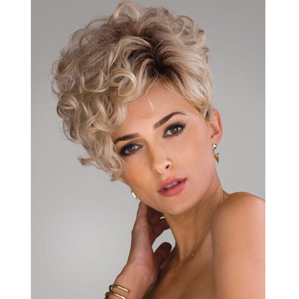 Short Kinky Curly Hair Wigs pixie styles Synthetic pastel wigs for women Short curly blonde wig ...