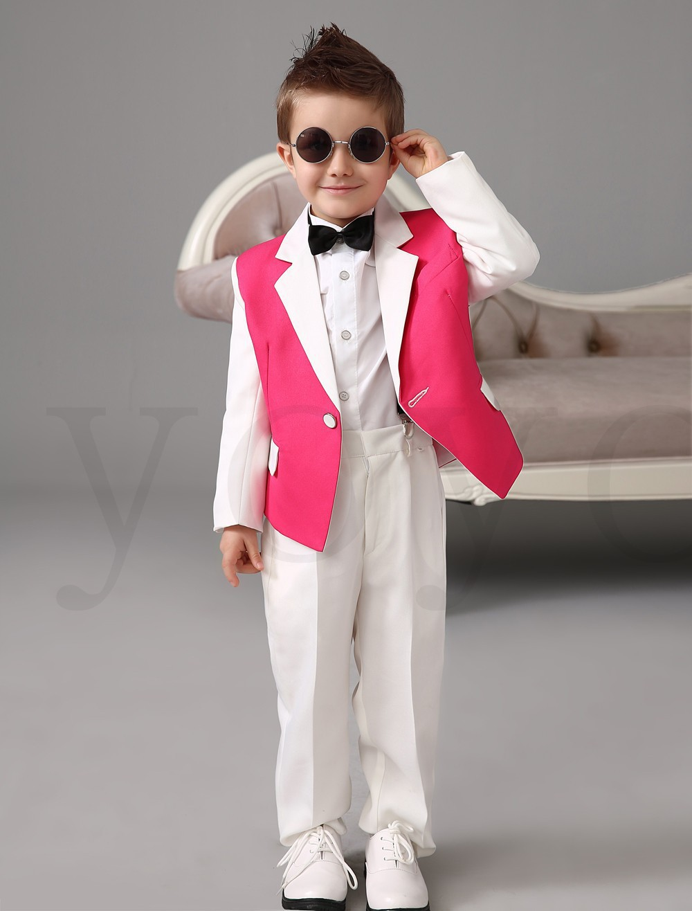 2015 White Pink Boys Tuxedos Wedding Attire Baby Boy Dress