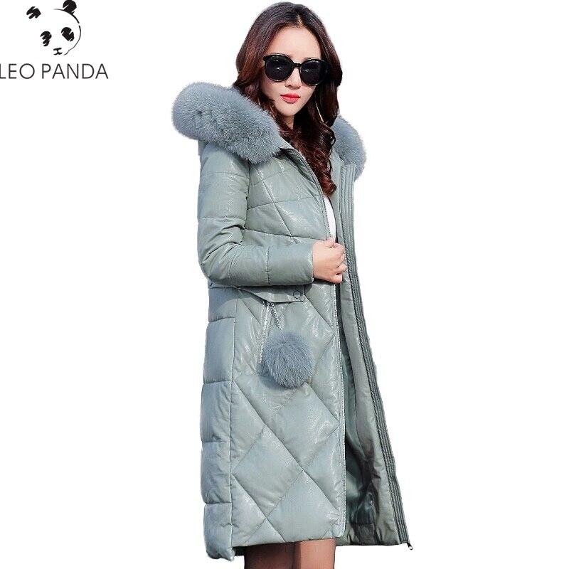 Nouveau réel col en fourrure de renard à capuche veste en Faux cuir hiver femme manteau chaud vestes à glissière Parka femme vêtements rembourrés de coton Y987