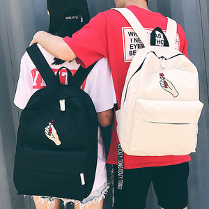 Image 4 - Menghuo Men Heart Canvas Backpack Women School Bag Backpack Rose Embroidery Backpacks for Teenagers Womens Travel Bags Mochilas