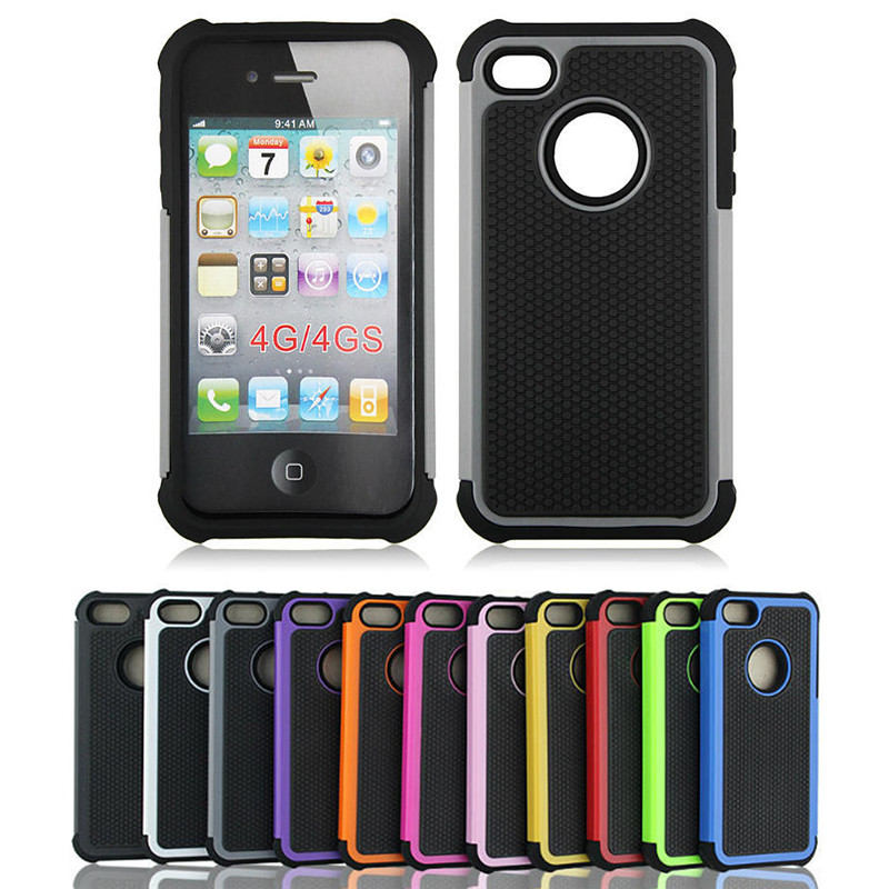 Ball Grain Shockproof Silicone Plastic Hybrid Case For iPhone 4S 5 5S SE Cover