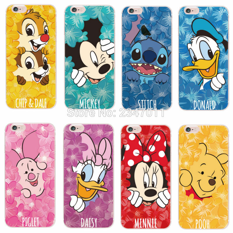 For iPhone 5 6 7 S Plus 8 8Plus X Samsung Minnie Mickey Cartoon Donald Duck Stitch Piglet Daisy Pooh Bear Characters Phone case