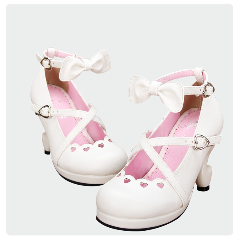 bc12f6663ab Japanese Sweet Lolita Criss Cross Straps Fantasy High Heels PU Leather  Pumps Ankle Strap Bow White Princess Shoes-in Women s Pumps from Shoes on .