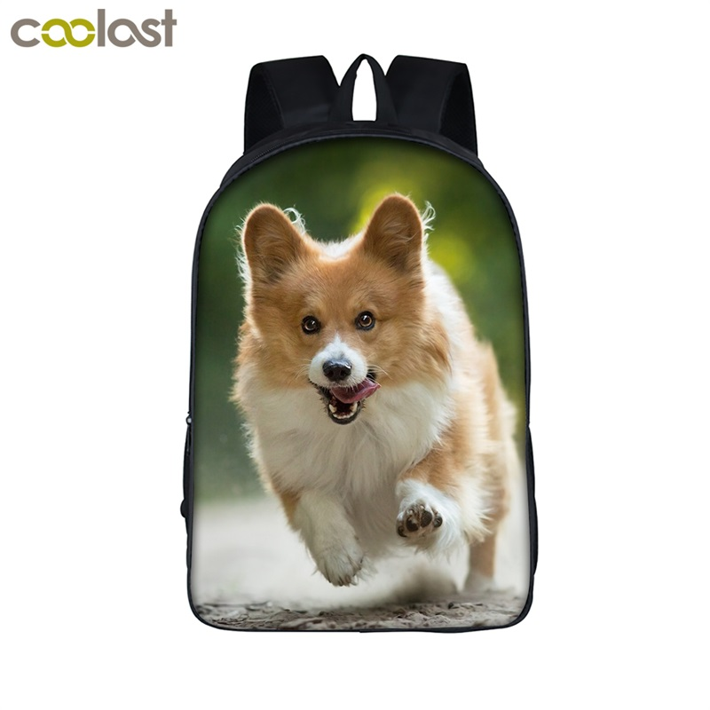 Cute Corgi Dog Backpack For Teenage Boys&Girls Funny Puppy Children School Bags Women Men Laptop Bag Backpack Kids Book Bag minions ninja mini messenger bag children cute animal dog cat horse printing school bags boys kids book bag for snack best gift