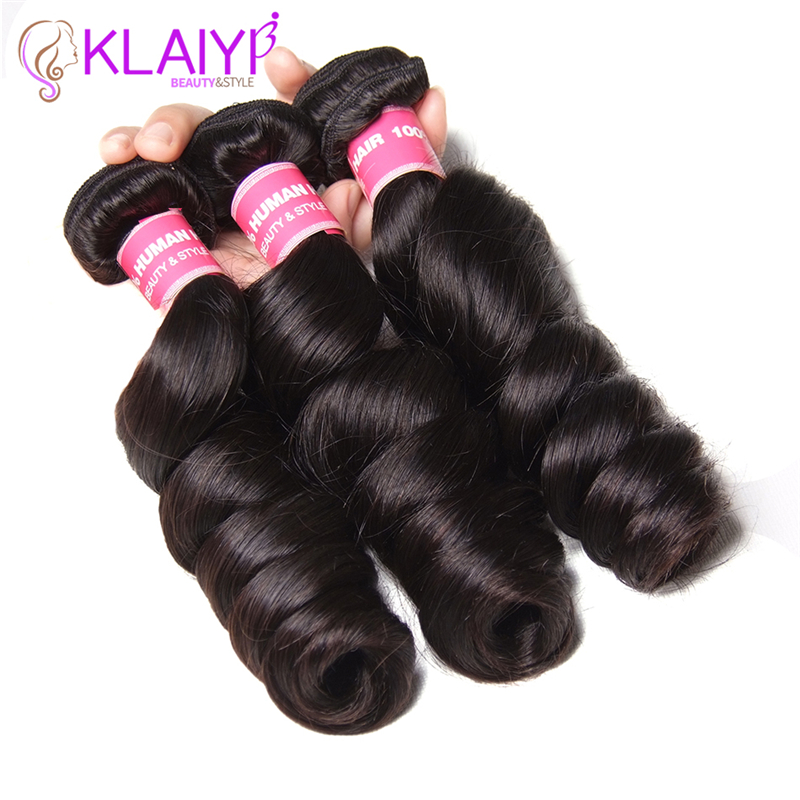 Klaiyi Hair Product Bundles Malaysian Hair Loose Wave Hair Weaving 100% Remy Human Hair Weave Natural Color 3Pcs Tangle Free