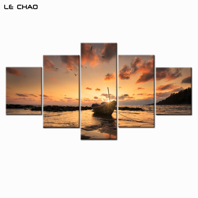 Amazing Boat Sunset Canvas Paintings Wall Pictures For Living Room Or Bedroom  Modular Painting Decorative Wall Pictures