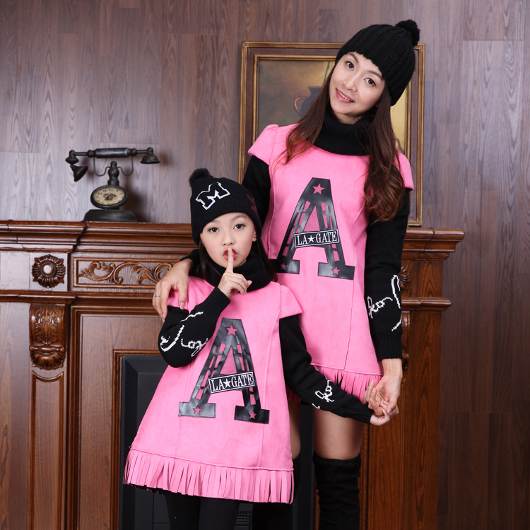 ФОТО Spring 2016 Mom and Daughter Dress Tassel  Designer Brand Mother Clothes Long Sleeve Dresses Costume Summer Dress