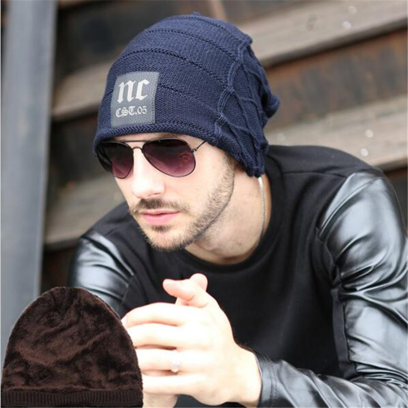 Fashion 2015 New Winter Men and Woman Hat Letter NC Beanies Knitted Hat Ear Protector Velvet Cap Wool Warm Skullies skullies 2017 fashion new arrival indian yoga turban hat ear cap sleeve head cap hat men and women multicolor fold 1866688