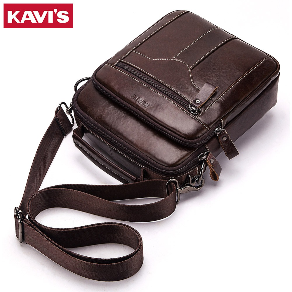 KAVIS Messenger Bag Small Fashion Men Genuine Leather Shoulder Bags Business Crossbody Casual Bag Famous Brand