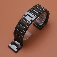 Hot Promotion New replace 22mm Watch Band Ceramic Black Strap for Samsung Gear S3 Classic Butterfly Buckle watches Belt Bracelet