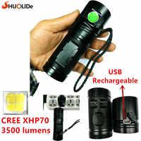 2017 SHUO LI DE Neue USB Aufladbare 3500 lumen CREE XHP70 LED taschenlampe Taschenlampe led lampe Mit 3*18650 batterie
