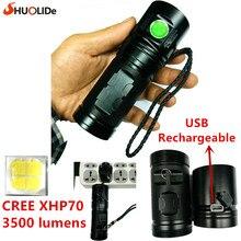 2017 ШО ЛИ ДЕ Новый USB Аккумуляторная 3500 люмен CREE XHP70 LED torch Фонарик led лампы С Использованием 3*18650 батареи