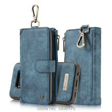 CaseMe Zipper Wallet Leather Hasp Hook Case For iPhone 6 6s Plus 7 7 Plus Samsung S8 Plus Retro Vintage Matte Skin Pouch 1pcs